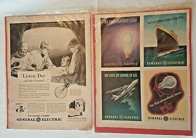 Vintage General Electric Innovation Firsts And Mazda Lamps Advertisements 1943