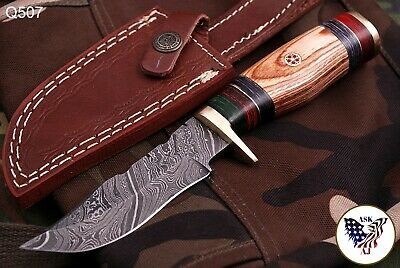 CUSTOM HAND FORGED DAMASCUS Steel Hunting Knife W/wood & Brass Guard Handle