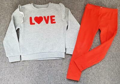 Lovely 2 Piece Outfit, Love Design, Sweatshirt Top/Red Leggings, 4-5 Yrs