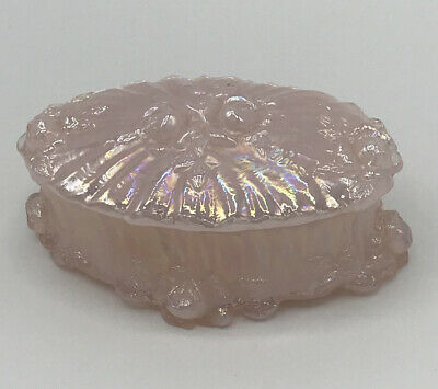 Vintage Fenton Glass Shell Pink Iridescent Roses Oval Trinket Box Carnival Glass