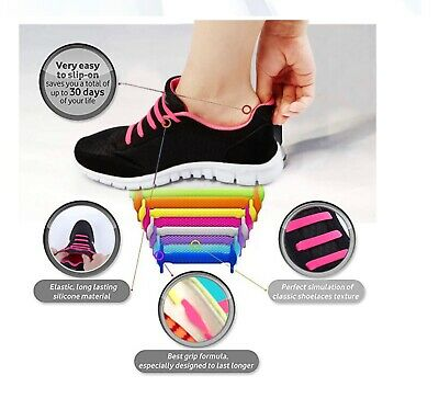 16pcs Easy No Tie Shoelaces Elastic Silicone Lazy Shoe Lace Strings kids/ Adults