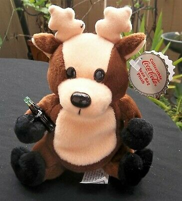 Coca-Cola Reindeer Plush Toy 1998 with A Coke Bottle