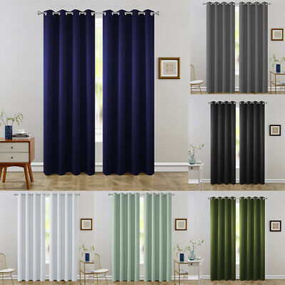 2 Panels Blackout Window Curtains Room Darken Thermal Insulated Drapes Grommet