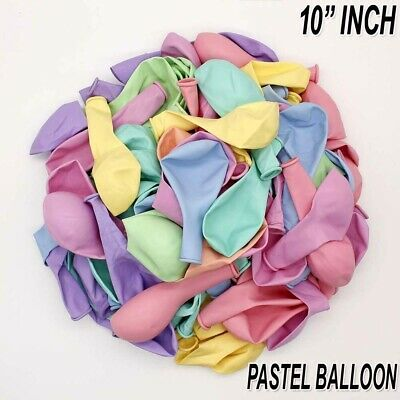 """Pack of 100 Pastel Latex Balloons Macaron Candy All Colour Party 10"""" Balloons"""