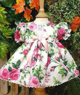 Dream 0-3 Years  Baby Girls Pink Lilac Peony Roses Vintage Dress