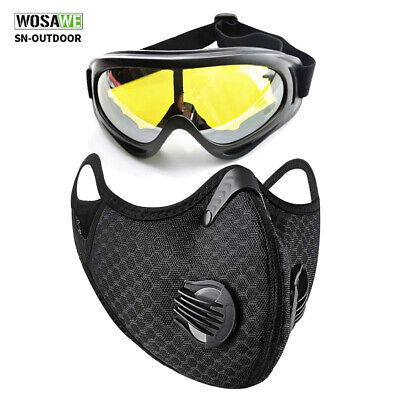 Outdoor Face Shield with Activated Carbon Filter & dustproof Glasses Goggle