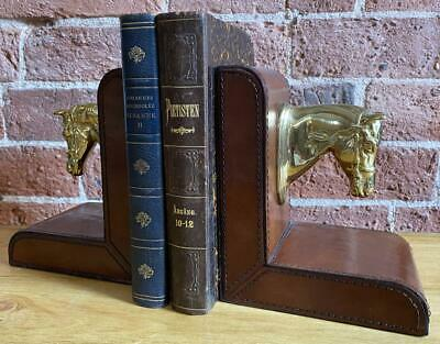 Pair of Bookends - Leather - Horses Heads - Equestrian / Horse Gift Idea