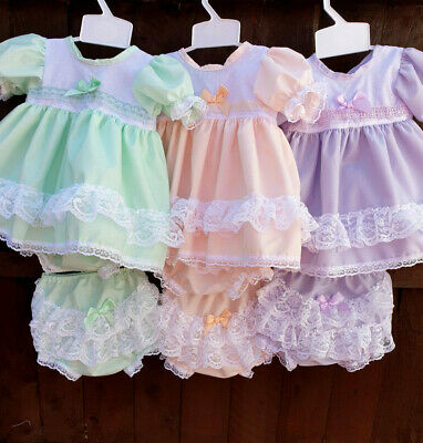 DREAM 0-6 YEARS  LILAC PINK LINED TRADITIONAL DRESS  OR REBORN DOLLS