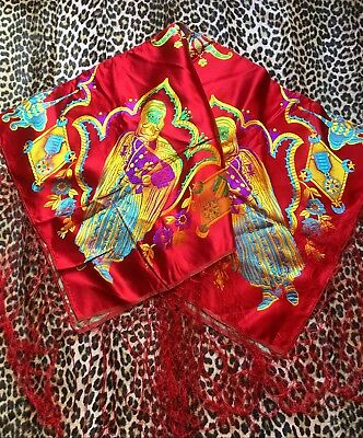 STUNNING 1920s RED SILK PIANO SHAWL~EMBROIDERED & FRINGED~NORTH AFRICA SOUVENIR