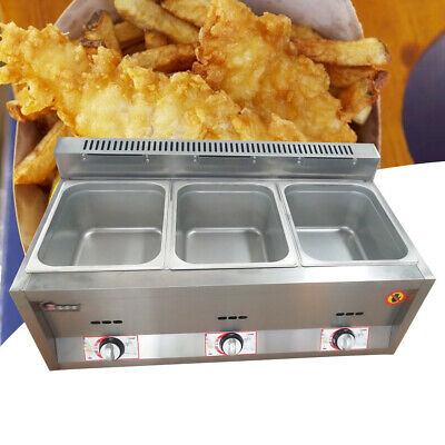3-Pan Food Warmer Steamer Countertop Buffet Heater Gas Fryer 3 Wells 50 ~ 380°C