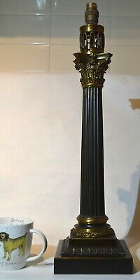 SUPERB QUALITY 19thC LARGE HEAVY BRONZE CORINTHIAN COLUMN LAMP BASE