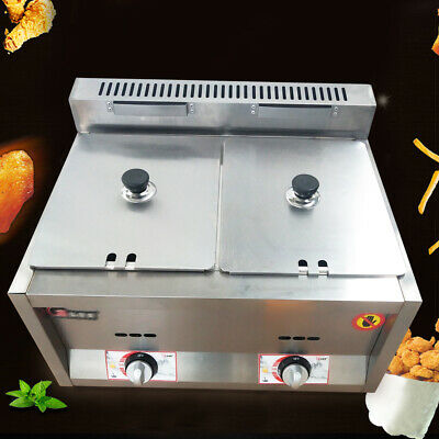Commercial Gas Fryer Steam 2 Pan Food Warmer Steam Buffet Countertop Table 6L*2