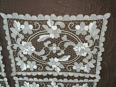 Set of 4 Antique Handmade Needle Lace Placemats Off White + Tan Floral