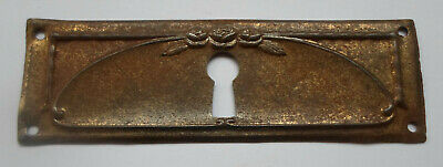Antique Stamped Brass Key Hole Cover Escutcheon for Drawer or Chest # II