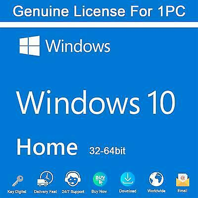 Windows 10 Home Genuine License Key 32/ 64bit 100% FULL SUPPORT INSTANT DELIVERY