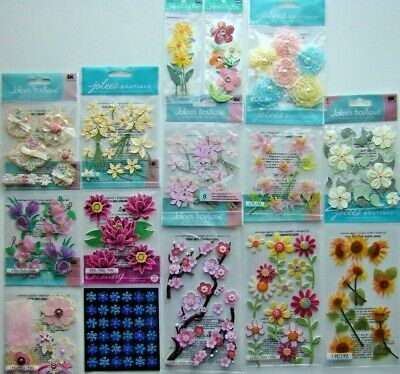FLOWERS LOT OF 14 Stickers Brand NEW Jolee/'s Boutique lily rose daisy lotus