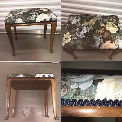 🌟Vintage Wooden Piano Dressing Table Stool Seat Chair Floral Sanderson Fabric