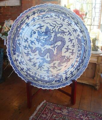 Huge Oriental Chinese Blue & White Porcelain Plate / Charger - 138cm - Dragons