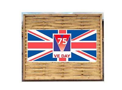VE Day 75th anniversary GB flag PVC Banner 4ft x 2ft Printed Outdoor Vinyl Sign