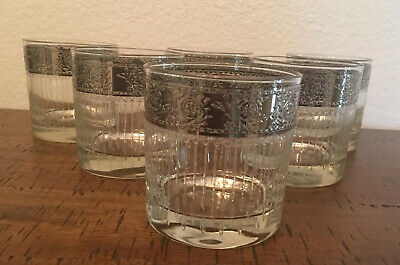 """CULVER GLASS """"Tyrol"""" Set of 6 Mid-century Silver Rim w/Vertical Lines Low Ball"""