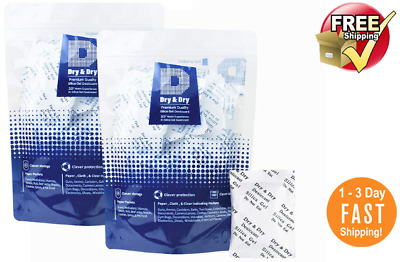 """100 Packets of 5 gram """"Dry & Dry"""" Premium Silica Gel Desiccant - Reusable"""
