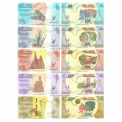 Currency Banknotes 100 1000 Ariary 500 Madagascar Set of 4 Pcs 200