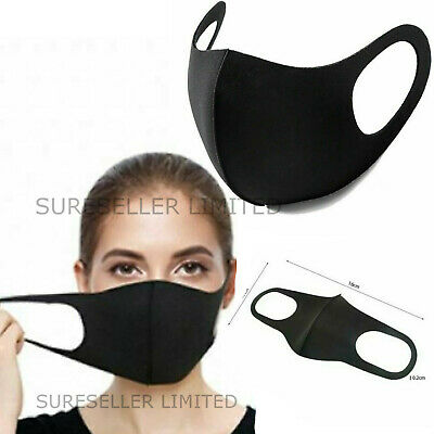 Black Breathable Mask Washable Face Mouth Protection Masks UK
