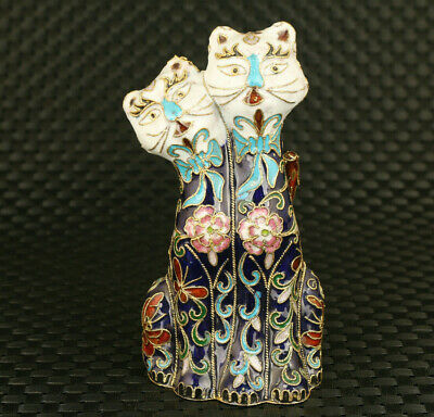 Rare Chinese old cloisonne Handpainted cat statue collectable Art ornament