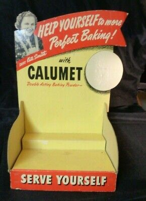 Vintage CALUMET BAKING POWDER DISPLAY AD COUNTER CARDBOARD STAND Kate Smith sign