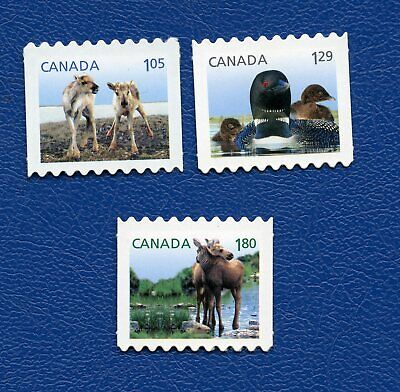 CANADA 2012 SC# 2510i-2512i BABY WILDLIFE DEFINITIVE DIE CUT FROM BOOKLET, MNH