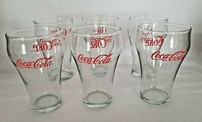 VINTAGE SET OF 6 COCA COLA BELL SHAPED COKE GLASSES With RED LETTERING - GREAT