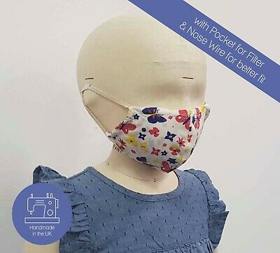 Child Adult Organic Cotton Reusable Face Cover Mouth Nose Dust Covering UK