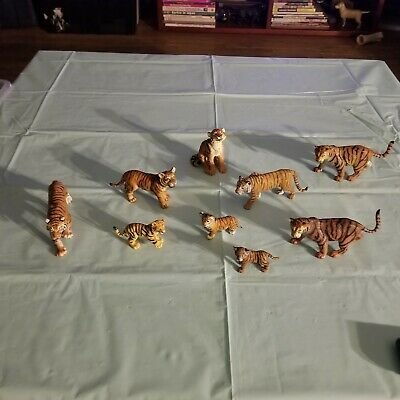 Lot Of 9 Schleich Safari LTD Hard Plastic PVC Tigers Tiger Animal Figures