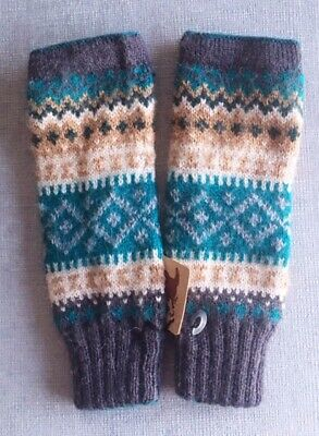 Andes Gifts Fingerless Gloves Brown Blue Grey