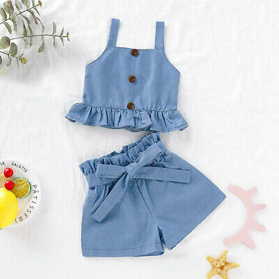 Toddler Baby Kid Girl Ruffle Vest Tops Solid Bow Shorts Outfits Set Clothes