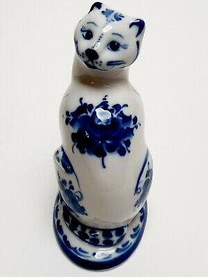 Collectible porcelain handmade sculpture cats Gzhel souvenir author's painting