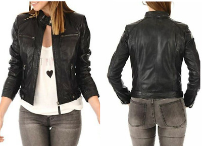 Sheepskin Genuine Leather Jacket for Girls Beautiful Black Leather For Winter