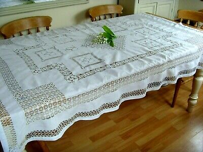 Antique/ Vintage Exquisite Large Linen Hand Embroidered Tablecloth Lace