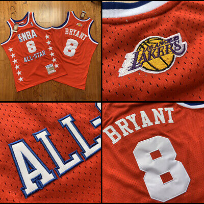 2003 All Star Game #8 Kobe Bryant Stitch Los Angeles Lakers Jersey Embroidery