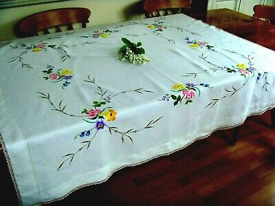 Vintage Hand Embroidered Large Linen Tablecloth ~ Gorgeous Summer Flowers Lace