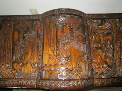 Antique Asian Hand Carved Wood Chest