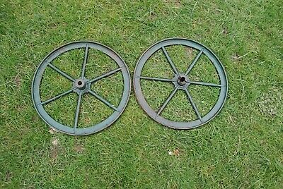 Antique cast iron wheels,42mm diameter,20mm thick.maybe from an agricultural too