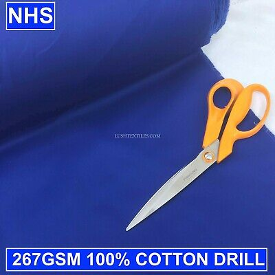 ROYAL BLUE 100% COTTON DRILL FABRIC NHS PPE Scrubs Hats Masks Hospital Workwear