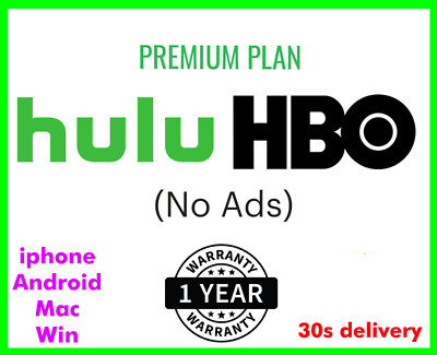 Hulu HBO No Ads 1 year Subscription shared account 30sec delivery Guaranteed