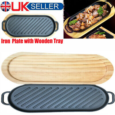 Cast Iron Flat Frying Pan Baking Tray Non Stick Griddle Plate BBQ Grill Pan Tray