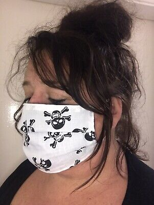 Handmade 100% Cotton Skull & Crossbones Print, Reusable & Washable Face Mask