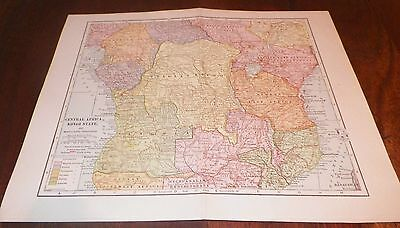 Central Africa Kongo State & Surrounding Territories Map LL Poates Engr'g Co NY
