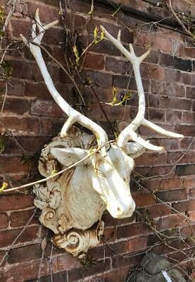 Large Cast Iron Stags Head - Wall Hanging - White Painted Antique Style Finish