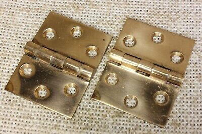 2 old Hinges cast bronze BUTT door polished interior shutter vintage 2 x 1 1/2""
