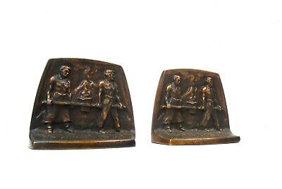 Very Rare Male Nude Steel Workers Machine Age Metal Cast Bookends 1930 Antique